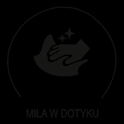 Ikonka przedstawia cechę szczególną tkaniny obiciowej. Tkanina miła w dotyku
