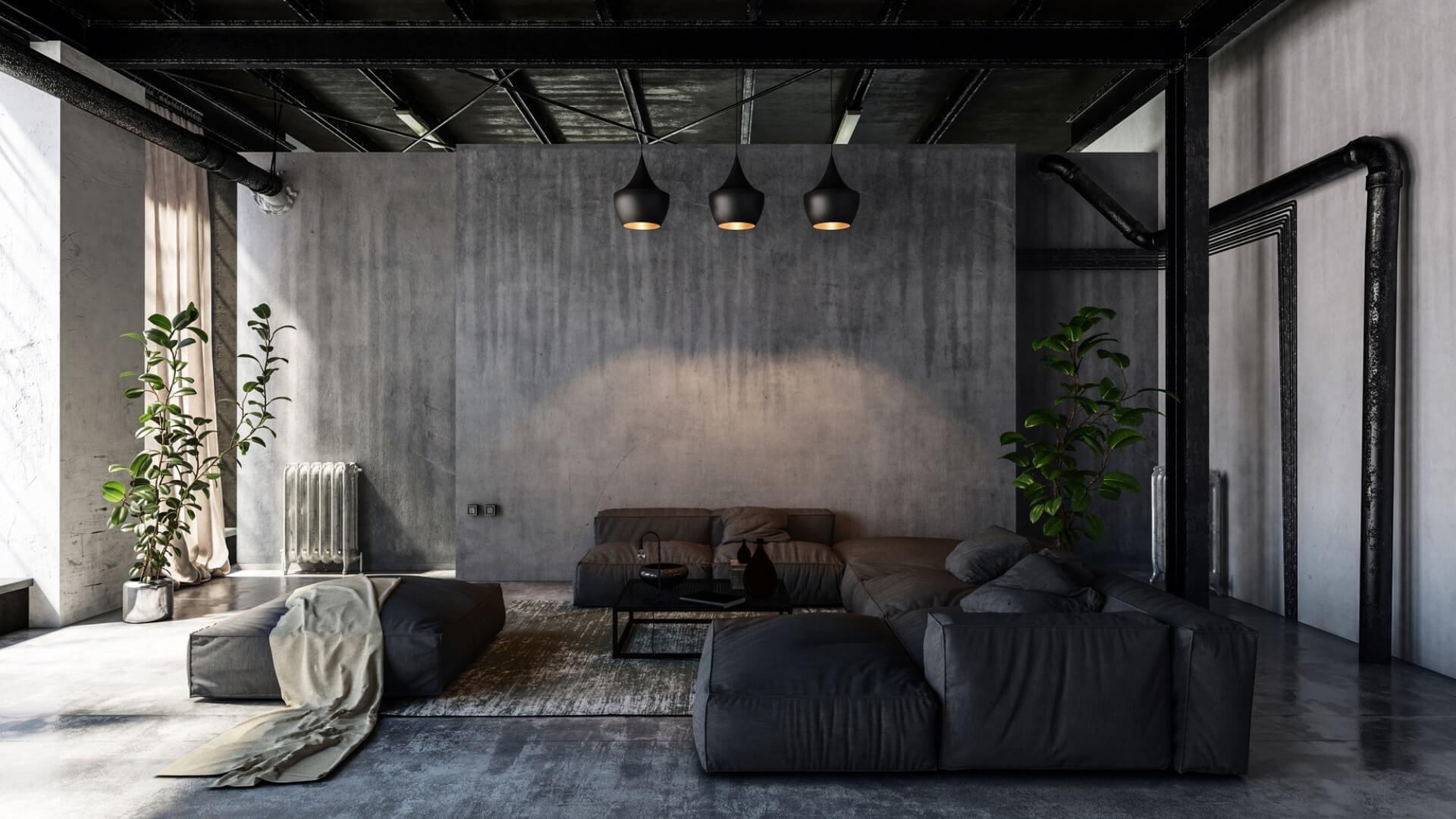 Salon w industrialnym klimacie, mebel w tkaninie obiciowej - Marboss.eu