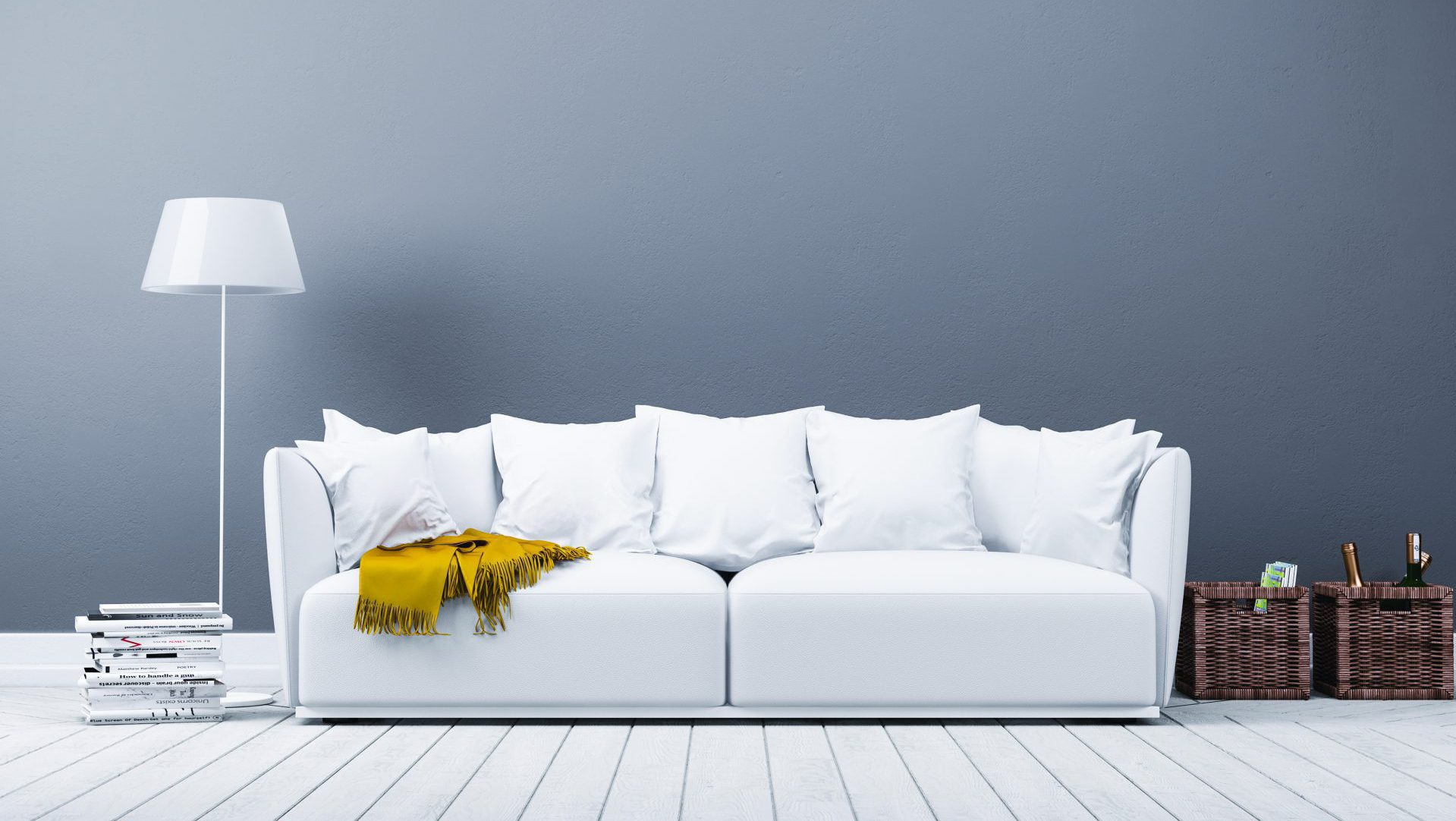 Salon ciemny w odcieniach szarości oraz biała sofa z żółtym sszalem.. marboss original importer tkanin
