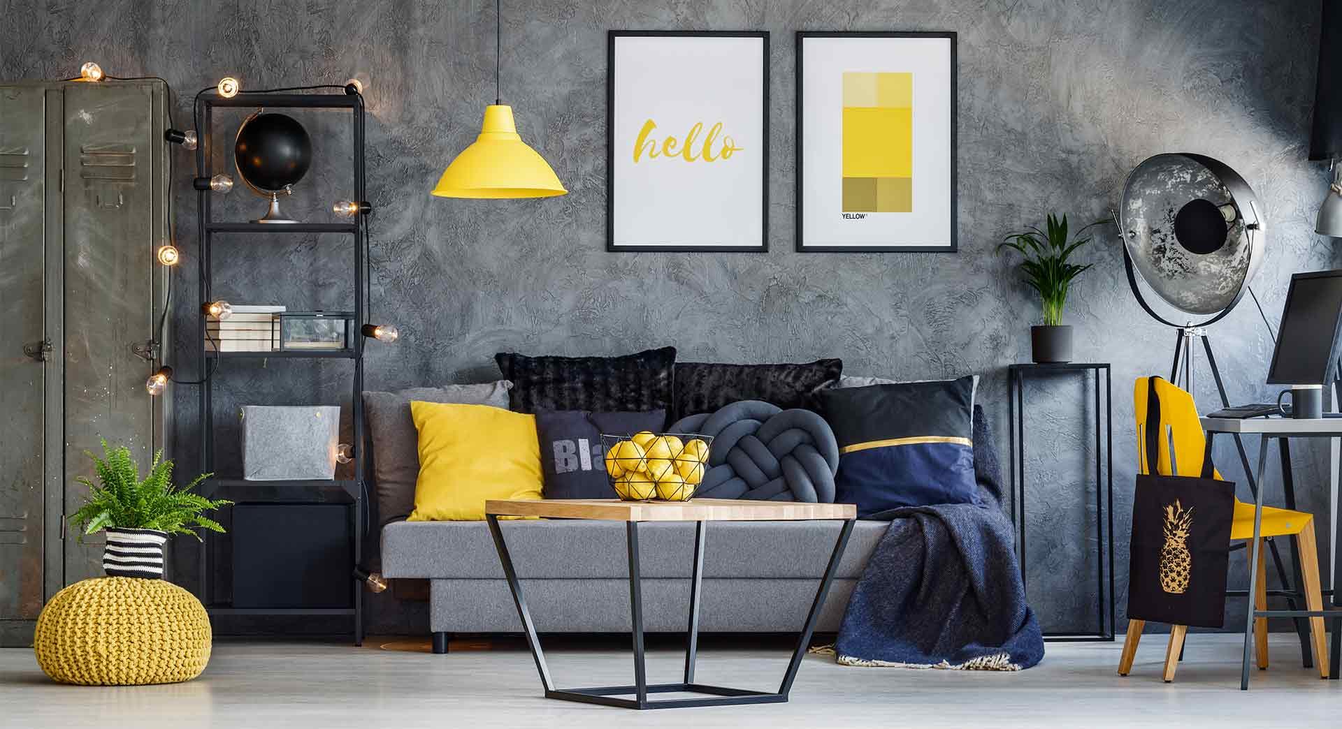 Bajeczny żółty kolor tkaniny meblowej na dodatkach w połączeniu z szarością mebla tapicerowanego - Marboss.eu